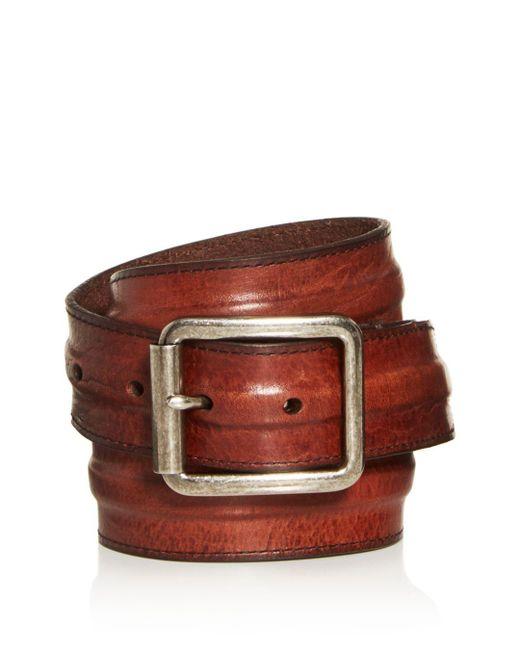 Frye Brown Men's Trapunto Leather Belt for men