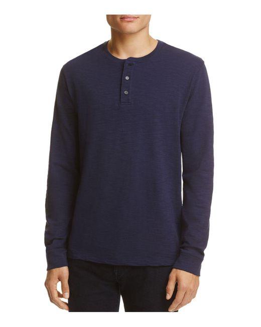 Vince   Blue Slub Henley Shirt for Men   Lyst