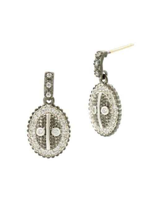 Freida Rothman - Multicolor Pavé Oval Drop Earrings - Lyst