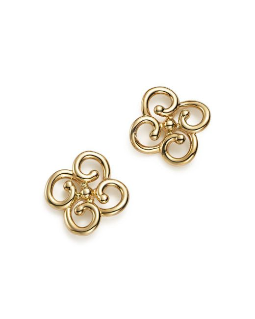 Bloomingdale's - Metallic 14k Yellow Gold Twist Clover Earrings - Lyst