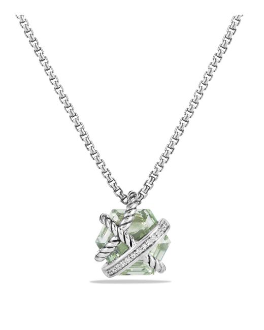 David Yurman - Metallic Petite Cable Wrap Necklace With Prasiolite And Diamonds - Lyst