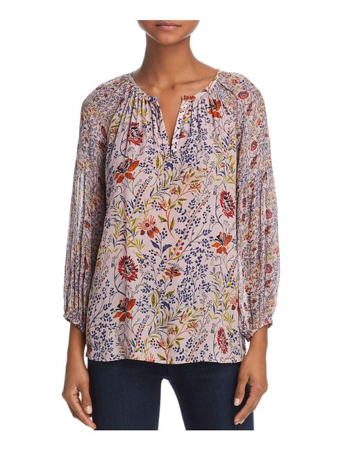 Velvet By Graham & Spencer | Pink Kandee Floral Print Peasant Top | Lyst