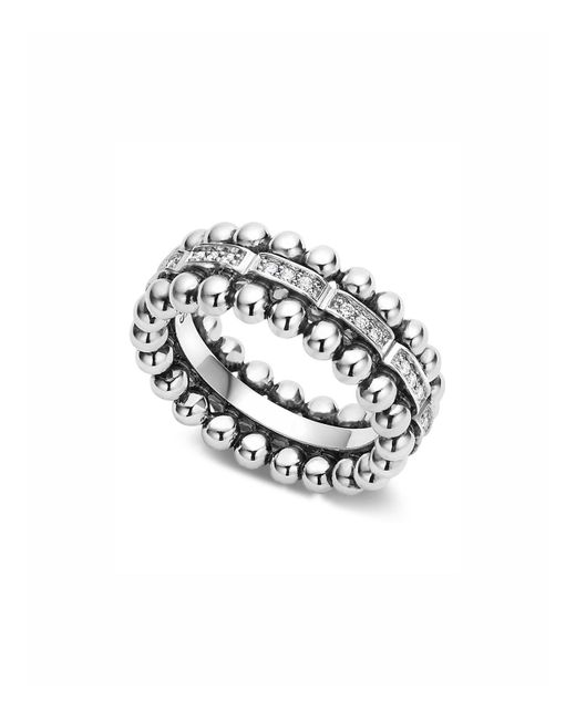 Lagos - Metallic Sterling Silver Caviar Spark Diamond Band - Lyst