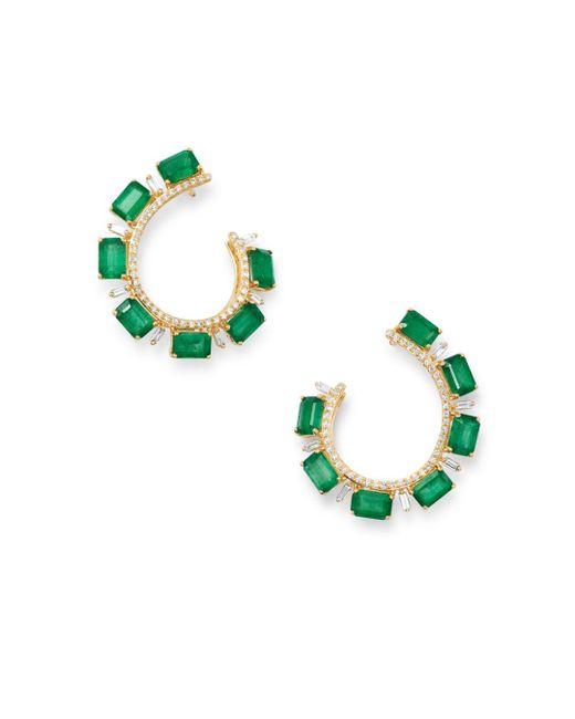 Bloomingdale's Green Emerald & Diamond Front - Back Earrings In 14k Yellow Gold