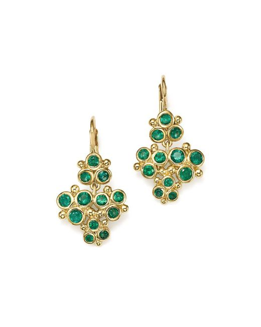 Temple St. Clair - Multicolor 18k Yellow Gold Emerald Trio Cluster Earrings - Lyst