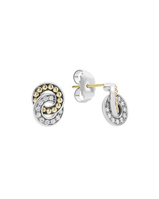 Lagos - Metallic 18k Gold And Sterling Silver Enso Double Circle Stud Earrings With Diamonds - Lyst