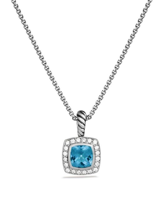David Yurman Petite Albion Pendant With Blue Topaz And Diamonds On Chain