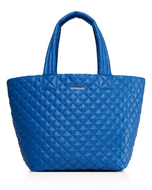 MZ Wallace Blue Quilted Tahiti Medium Metro Tote
