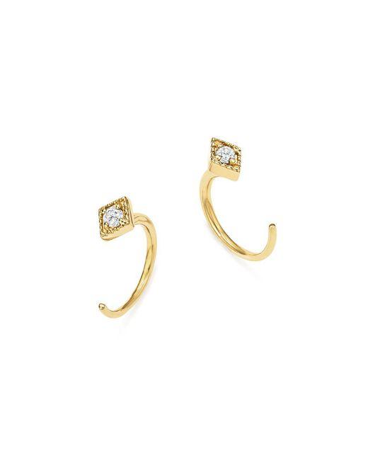 ICONERY | Metallic X Luv Aj 14k Yellow Gold Kite Hook Earrings With Diamonds | Lyst