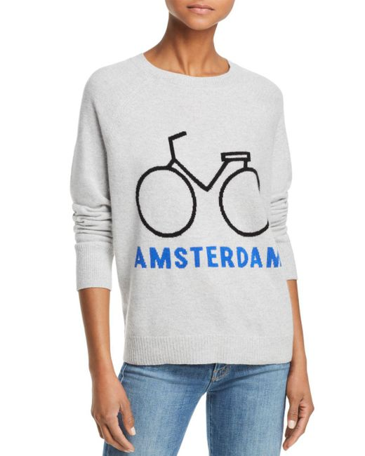 Aqua - Gray Cashmere Amsterdam Bike Cashmere Sweater - Lyst