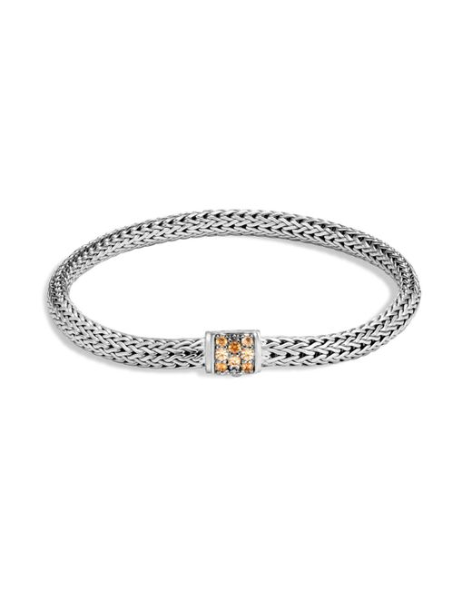 John Hardy | Metallic Sterling Silver Classic Chain Extra Small Bracelet With Mixed Mandarin Garnet | Lyst