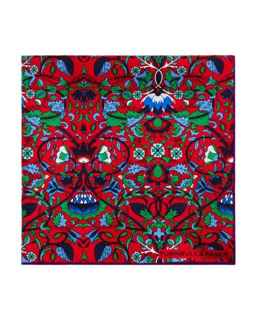 Turnbull & Asser - Red Floral Pocket Square for Men - Lyst