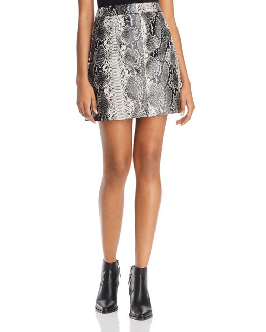 French Connection Gray Elias Faux - Leather Snakeskin - Pattern Skirt