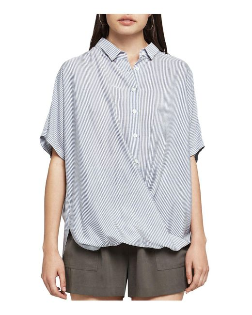 BCBGeneration - Blue Striped Button-down Front-tuck Shirt - Lyst