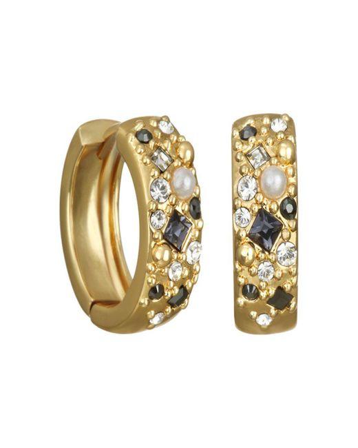 Karl Lagerfeld Metallic Crystal Mini Huggie Hoop Earrings