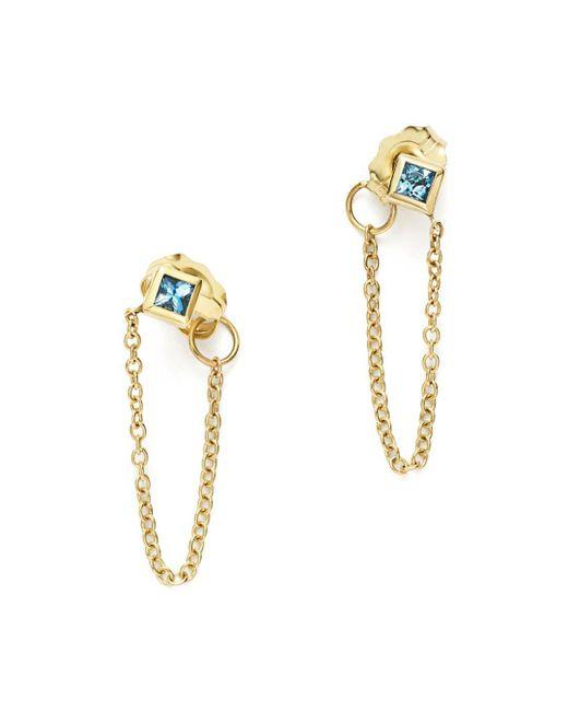 Zoe Chicco - Metallic 14k Yellow Gold Draped Chain Stud Earrings With Aquamarine - Lyst