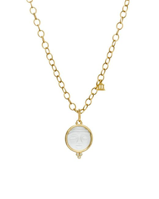 Temple St. Clair - Metallic 18k Yellow Gold Moonface Pendant With Carved Rock Crystal And Diamond Granulation - Lyst