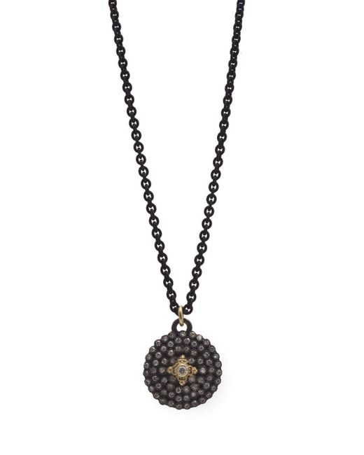 Armenta - Multicolor 18k Yellow Gold And Blackened Sterling Silver Old World Diamond Shield Pendant Necklace - Lyst