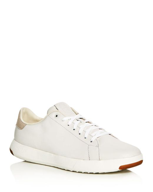 Cole Haan White Grandpro Tennis Leather Lace Up Sneakers for men