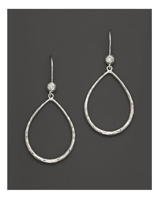 Ippolita - Metallic Sterling Silver Open Teardrop Earrings With Diamonds - Lyst
