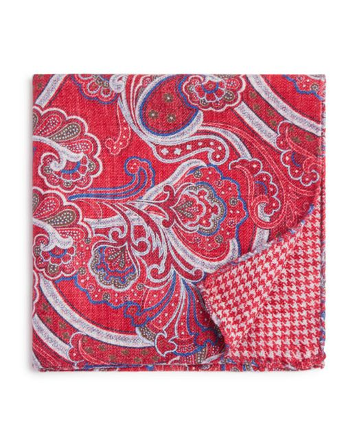 Bloomingdale's - Red Paisley/houndstooth Pocket Square for Men - Lyst