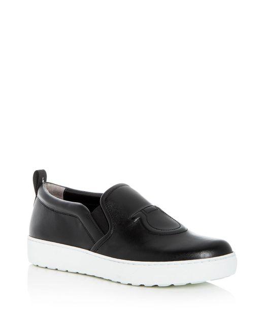 Ferragamo - Black Women's Leather Slip-on Sneakers - Lyst