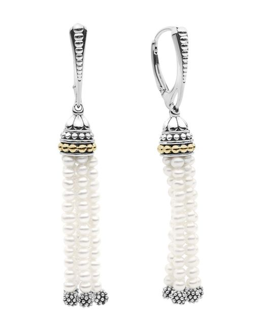 Lagos - Metallic 18k Gold And Sterling Silver Caviar Icon Cultured Freshwater Pearl Tassel Drop Earrings - Lyst