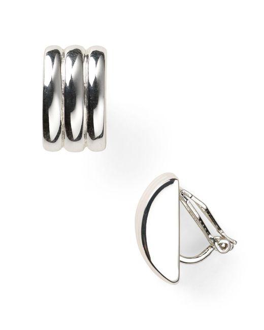 Ralph Lauren - Metallic Lauren Ridged Clip-on Earrings - Lyst