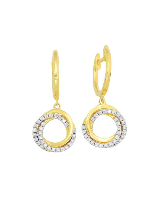 Frederic Sage | Metallic 18k Yellow Gold Flat Triple Halo Diamond Earrings | Lyst