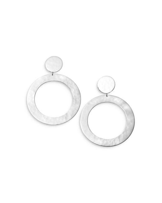 Ippolita Metallic Sterling Silver Classico Cringle Hammered Disc Circle Drop Earrings