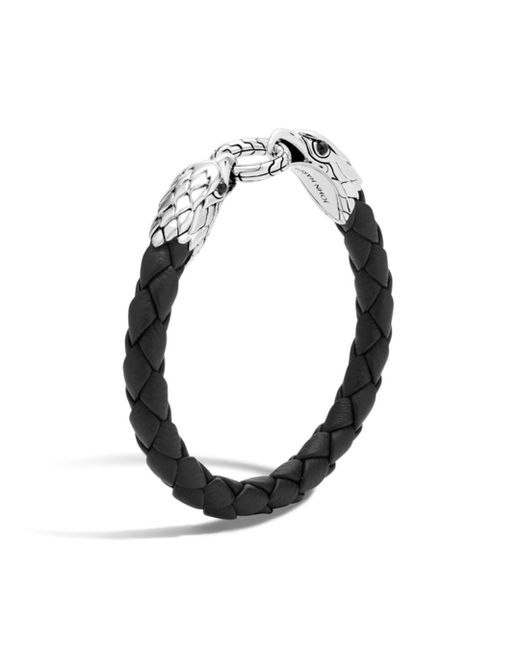 John Hardy - Men's Legends Eagle Silver Double Head Bracelet On Woven Black Leather With Black Onyx for Men - Lyst