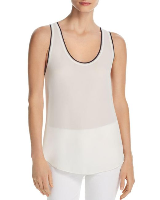 Theory - White Tipped Silk Tank - Lyst