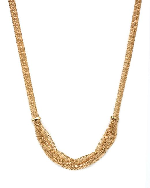 """Bloomingdale's - Metallic 14k Yellow Gold Braided Mesh Necklace, 17"""" - Lyst"""