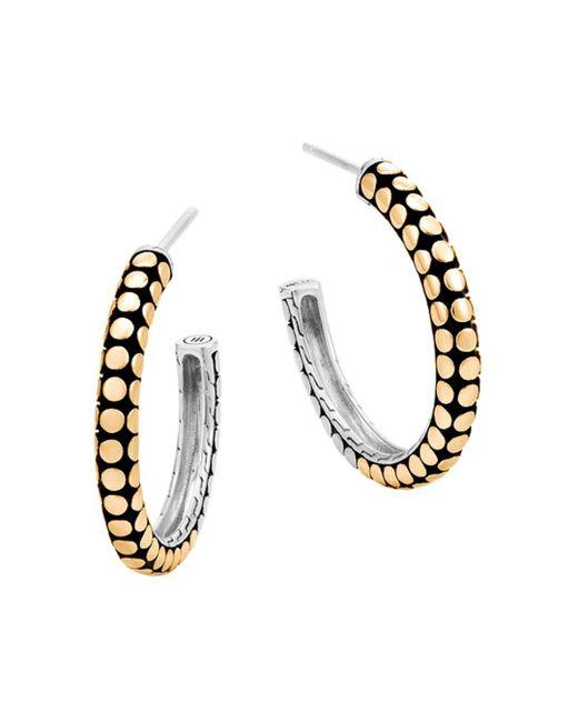 John Hardy - Metallic 18k Yellow Gold And Sterling Silver Dot Small Hoop Earrings - Lyst