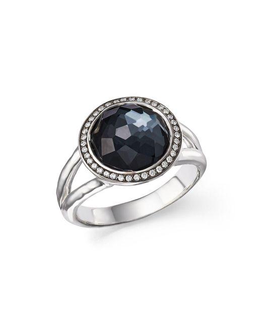 Ippolita - Metallic Stella Ring In Hematite Doublet With Diamonds In Sterling Silver - Lyst
