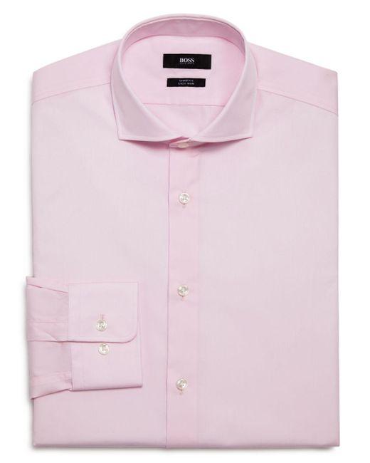 BOSS by Hugo Boss Pink Solid Slim Fit Dress Shirt for men