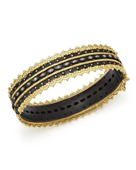 Armenta - Metallic 18k Yellow Gold And Blackened Sterling Silver Old World Diamond And White Sapphire Scalloped Edge Bangle - Lyst