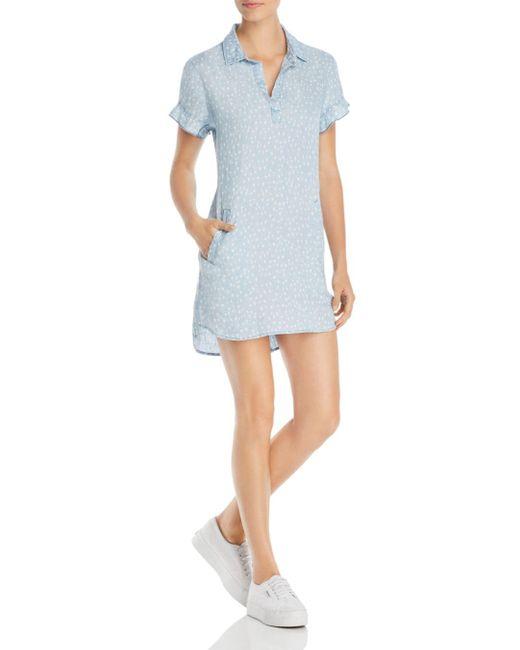 BILLY T Blue Heart - Motif Mini Shirt Dress