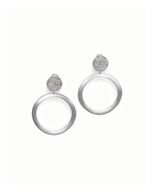 Ippolita - Metallic Sterling Silver Glamazon® Stardust Pavé Diamond Hoop Drop Earrings - Lyst