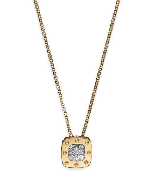 Roberto Coin Metallic 18k Yellow And White Gold Square Pois Moi Pendant Necklace With Diamonds