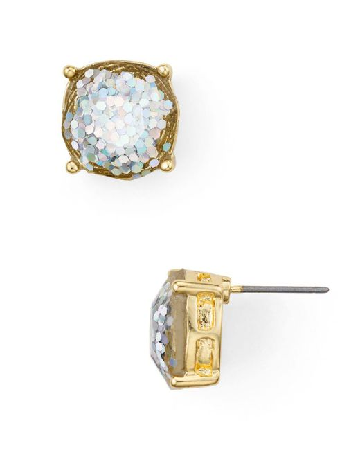 Aqua - Metallic Glitter-effect Stud Earrings - Lyst