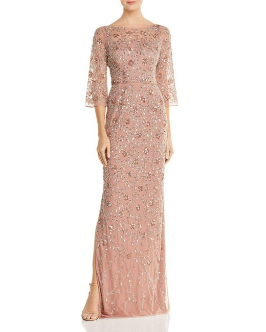 Aidan Mattox Pink Embellished Boatneck Gown