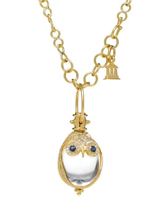 Temple St. Clair Metallic 18k Owl Pendant With Blue Sapphire & Diamond Pavé
