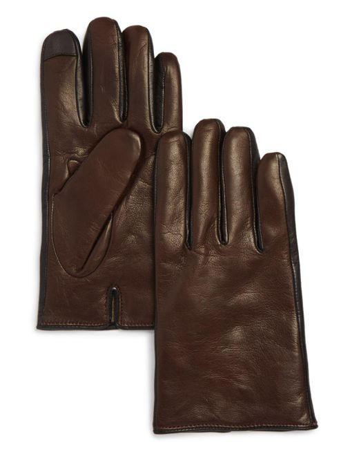 Bloomingdale's Brown Cashmere - Lined Nappa Leather Gloves for men