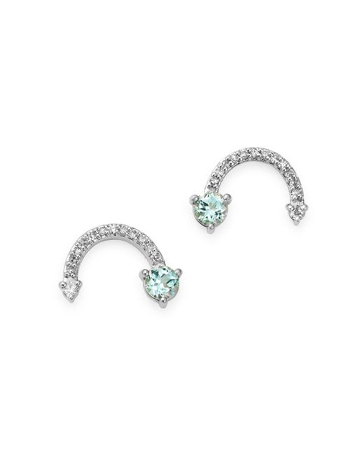 Adina Reyter Multicolor Sterling Silver Blue Topaz & Diamond Rainbow - Shaped Stud Earrings