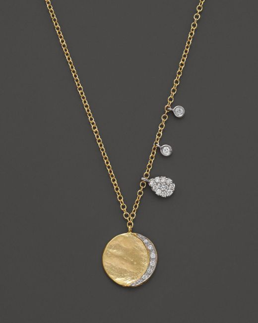 Meira T Diamond Disc Charm Necklace In 14k Yellow Gold