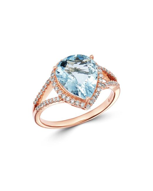 Bloomingdale's Metallic Pear - Shaped Aquamarine & Diamond Ring In 14k Rose Gold