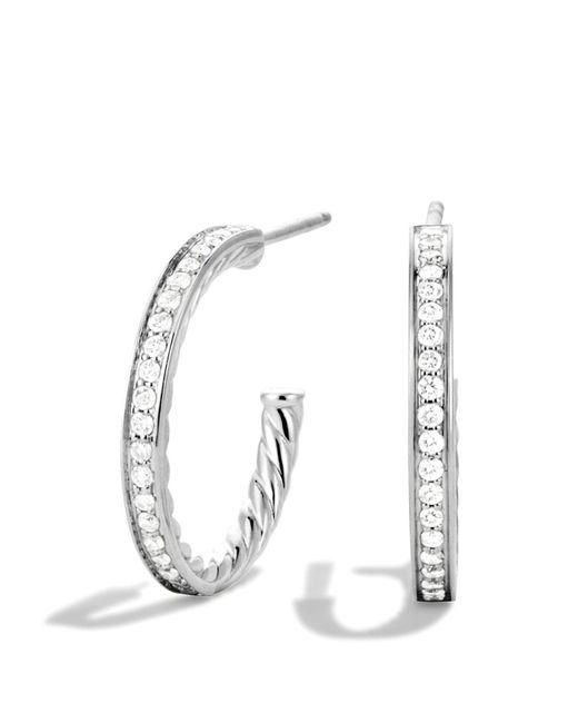 David Yurman | Metallic Sculpted Cable Diamond Earrings | Lyst