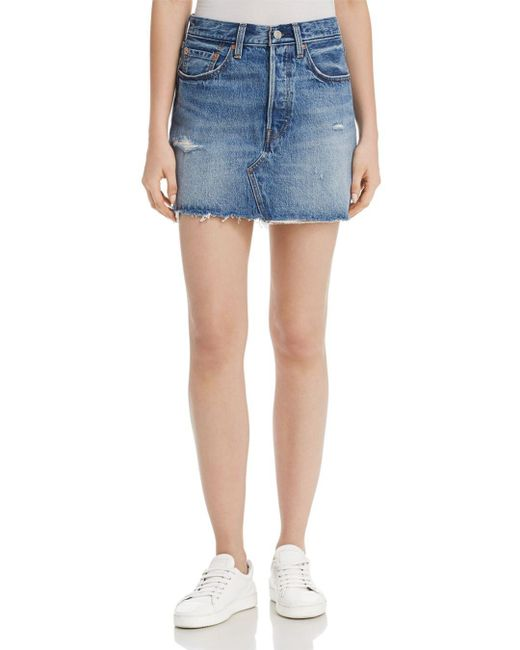 Levi's - Blue Deconstructed Denim Mini Skirt In Hole In One - Lyst
