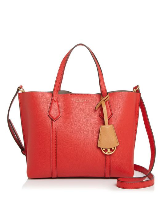 Tory Burch Red Perry Small Colorblock Tote Bag